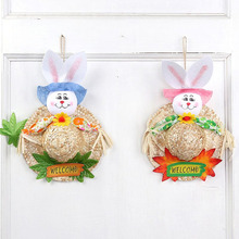 Happy Easter Party Cute Straw Hat Rabbit Door Hanging Wreath Home Wall Window Garden Decor Party Easter Ornament Accessory