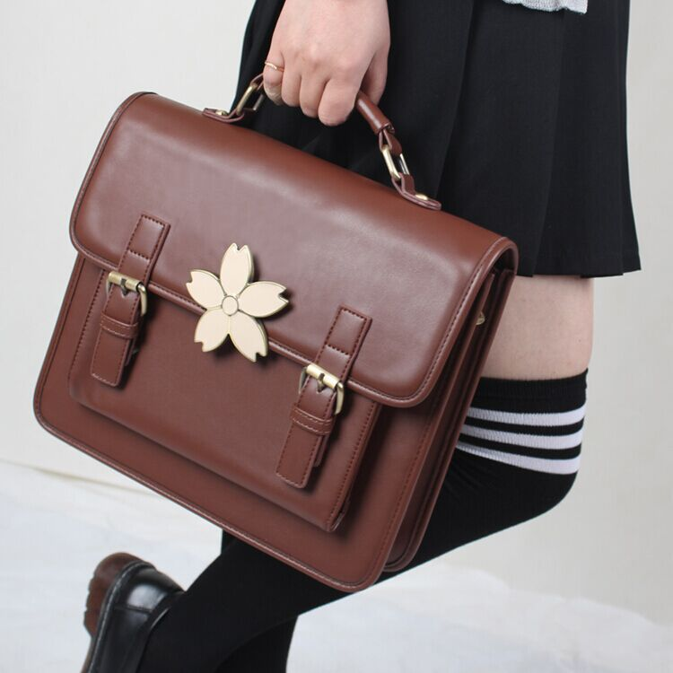 Christmas Gift Steampunk British Women Sakura Cherry Jk Bags  Steam Punk Handbags Lady Shoulder Bag Working Briefcase Pure Color