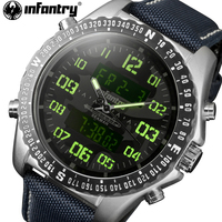 INFANTRY Men Watches Blue Camo Men S Quartz Hour Analog Digital LED Sports Watch Men Army