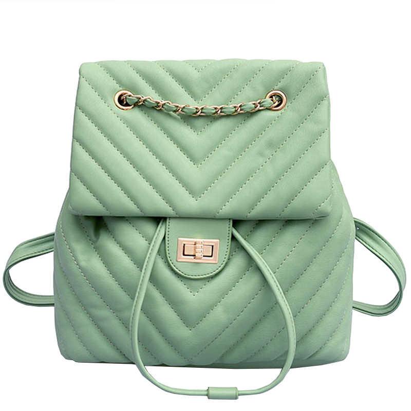 Европейский модный женский рюкзак 2018 новый высококачественный Женский рюкзак из мягкой кожи с цепочкой сумка для путешествий, рюкзак школьные сумки