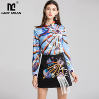 Women's Designer Runway Twinsets Turn Down Collar Long Sleeves Printed Shirts with Embroidery Tassels Skirts 2 Piece Dresses Set