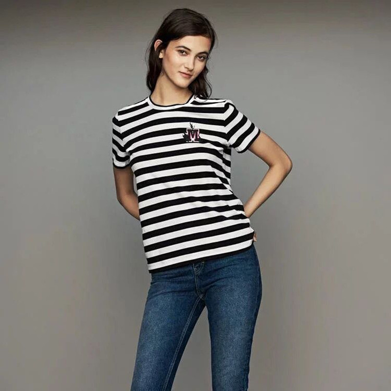 2019 New Women Short Sleeve Striped T Shirt Letter Embroidery Tshirt Top