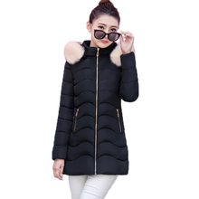 2017 Winter Fashion Women Coat Long Slim Female Jacket Faux Fur Collar Hooded Parkas Warm Ladies Outwears Cotton Clothing YP0449