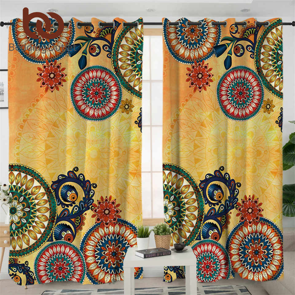 BeddingOutlet Kaleidoscope Living Room Curtains Bohemian Curtain for Bedroom Ethnic Mandala Flowers Window Treatment Drapes