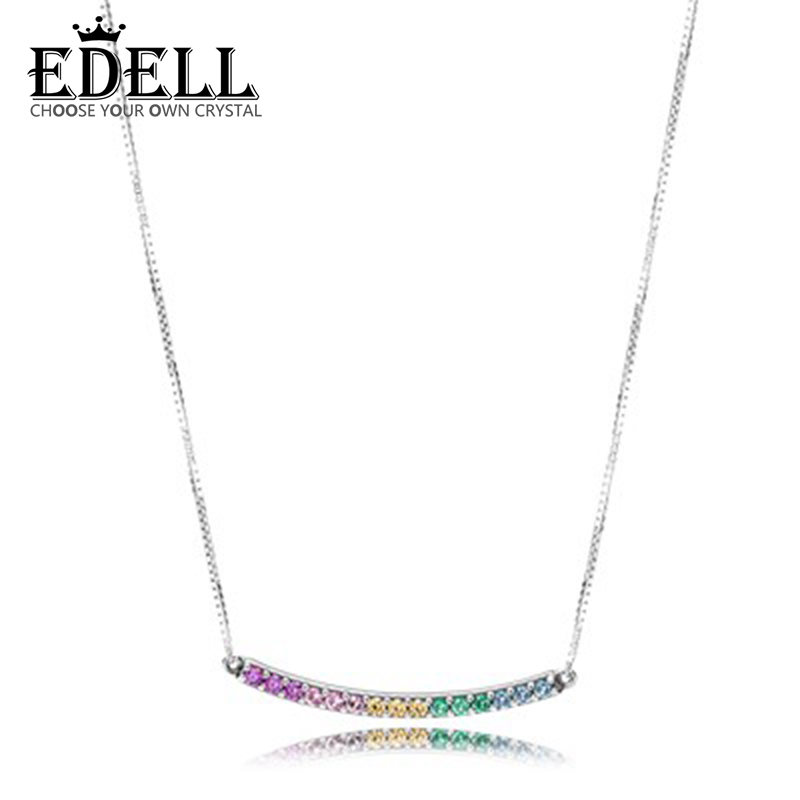 EDELL 100% 925 Sterling Silver New Rainbow Necklace Colorful Colorful Charm Zircon Rainbow Clavicle ChainEDELL 100% 925 Sterling Silver New Rainbow Necklace Colorful Colorful Charm Zircon Rainbow Clavicle Chain