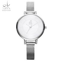 Shengke Original Bracelet Watches For Lady Fashion Dress Gold Charming Chain Style Luxury Quartz Women Watch