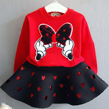 Girls Clothing Sets 2019 Autumn New Bow Tie Tops Minnie Top Shirt+Skirt Sets Girls Clothing Wear Kids Girls Clothes Spring(China)