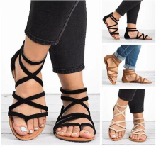 Summer Flip Flops Gladiator Sandals Shoes Beach Cross Sandals Woman Slip On Flats Casual Women Black Brown Shoes Plus Size 34-43