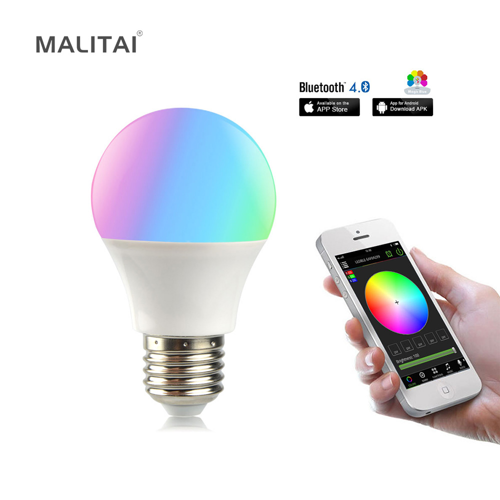 1Pcs Dimmable Smart Atmosphere RGBW LED Night light 85V-265V E27 4.5W Bluetooth App Control lamp Bulb Suit for IOS / Android стоимость