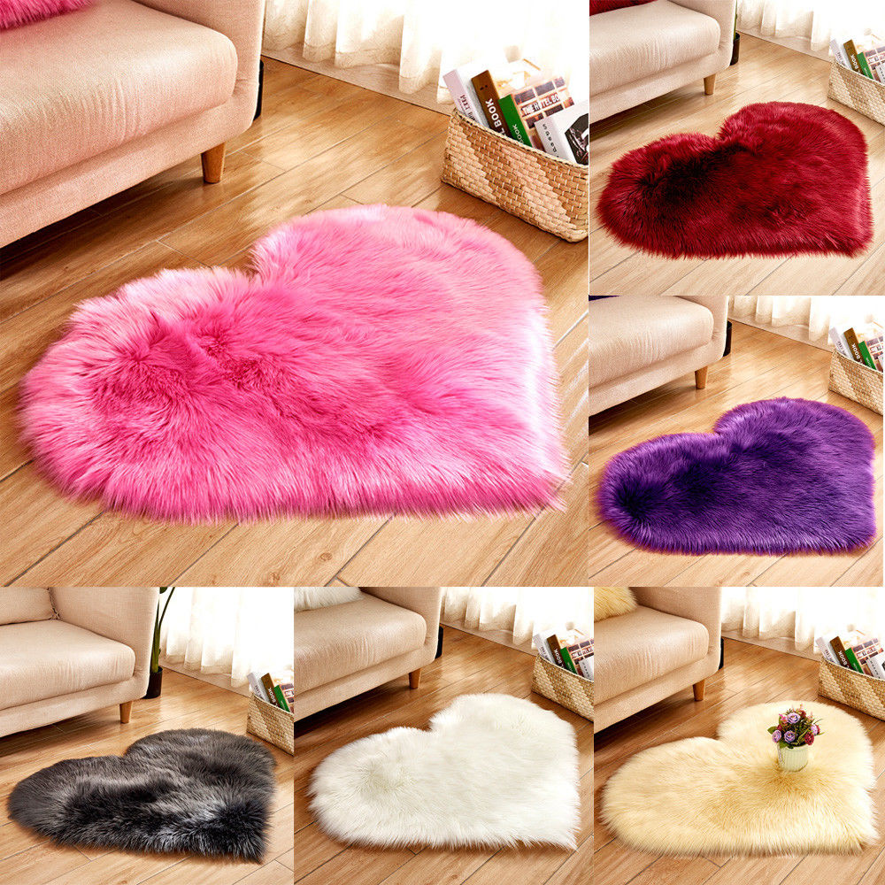 Love Heart Rugs Artificial Wool Sheepskin Hairy Carpet Faux Floor Mat Fur Plain Fluffy Soft Area Rug For Bedroom Living Room