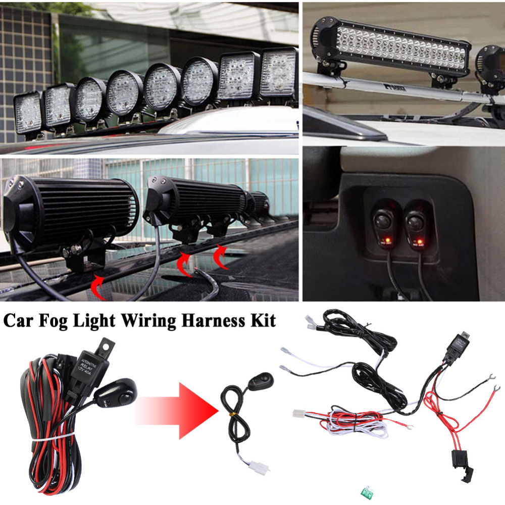 hight resolution of 12v 40a car universal accessories fog light wiring harness kit loom for led work driving light bar with fuse and relay switch in cables adapters sockets