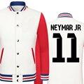 2016 кубок мира Neymar да силва толстый бархат бейсбол равномерное мужской куртки колледжа мальчики большой размер мужской одежды