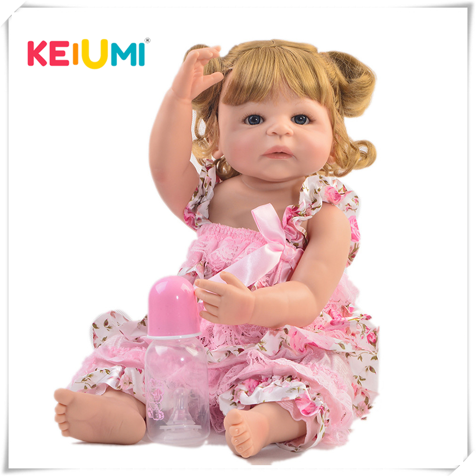 KEIUMI Lifelike 22 Inch Reborn Baby Doll Whole Silicone Realistic Princess Newborn Girl Doll Toy For