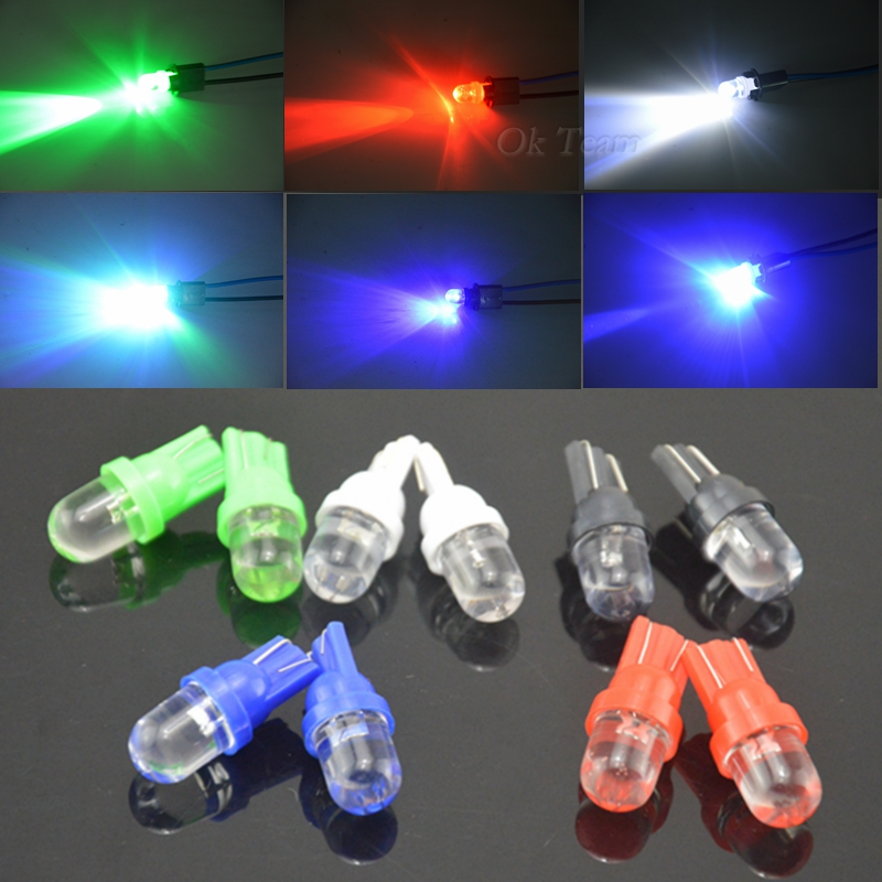 10PCS/Lot Universal T10 LED W5W 158 168 194 501 12V Car LED Side Dashboard Wedge Light Bulbs 5 Colors Available Free Shipping