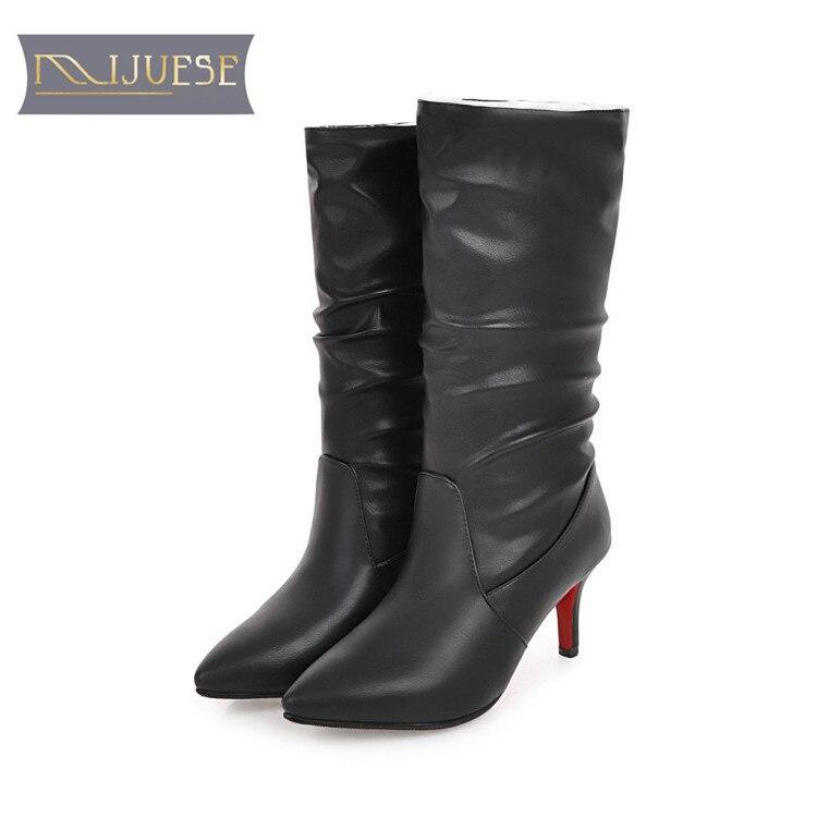 MLJUESE 2018 femmes mi-mollet bottes hiver chaud bottes bout pointu automne fourrure courte peluche couleur rouge bottes hautes taille 34-43