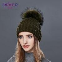ENJOYFUR Knitted Wool Hat For Women Real Raccoon Fur Pompom Thick Warm Women S Caps Good