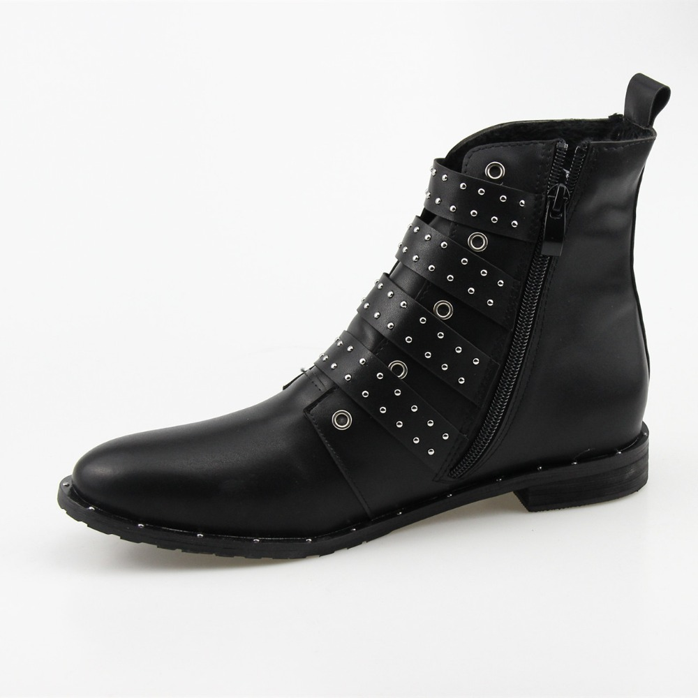 the best on feet at many fashionable Black Studded Leather Ankle Boots - MineSouq