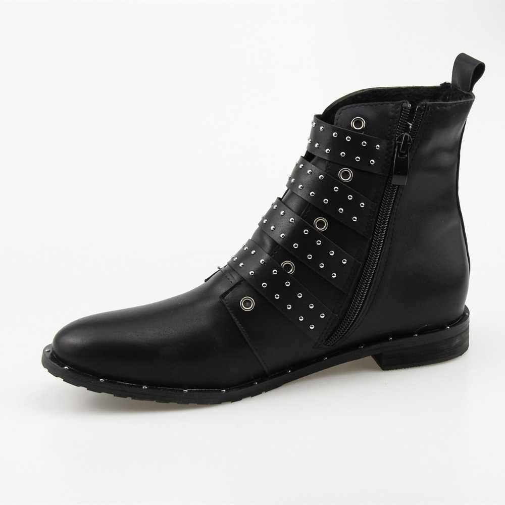 HOKSVZY kadın kış ayakkabı siyah çivili deri tokaları yüksek kadın botları Mujer bayan ayakkabı boyutu 42 nokta bileğe kadar bot HYKL-6618
