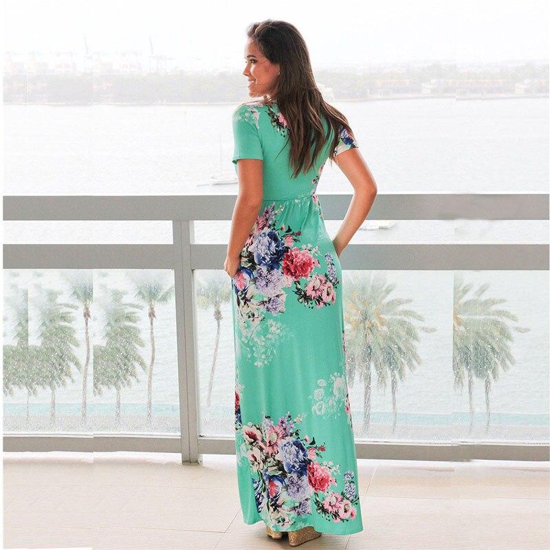 ELSVIOS 2017 Hot Sale Summer Long Dress Women Floral Print Short Sleeve Boho Maxi Dress Loose Beach Plus Size Dresses S-3XL  2