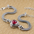 GZ Synthetic Ruby Bracelet 925 Sterling Silver Red Corundum Charm S925 Thai Silver Chain Bracelets for Women Jewelry