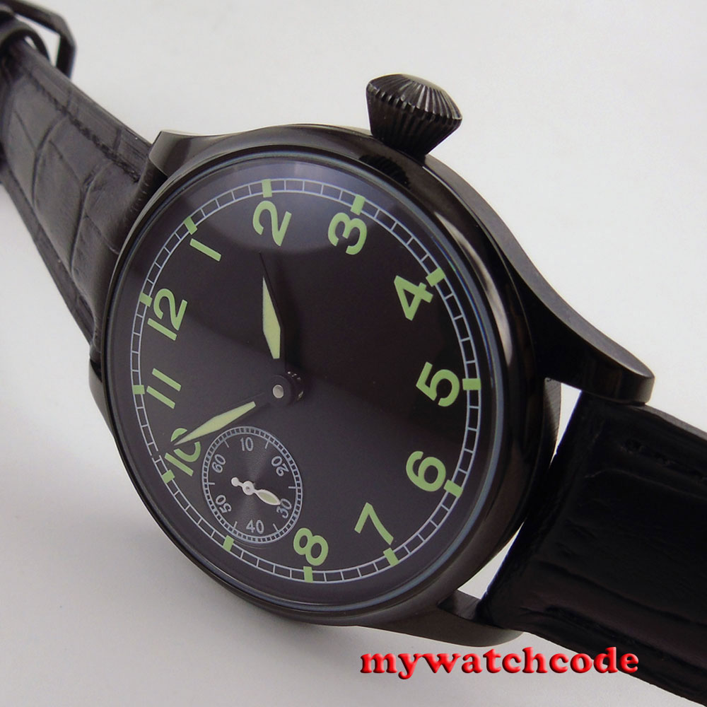 44MM parnis black dial luminous PVD 6497 hand winding movement mens watch P687 44mm parnis rose gold case black dial blue luminous 6497 movement hand winding mens watch