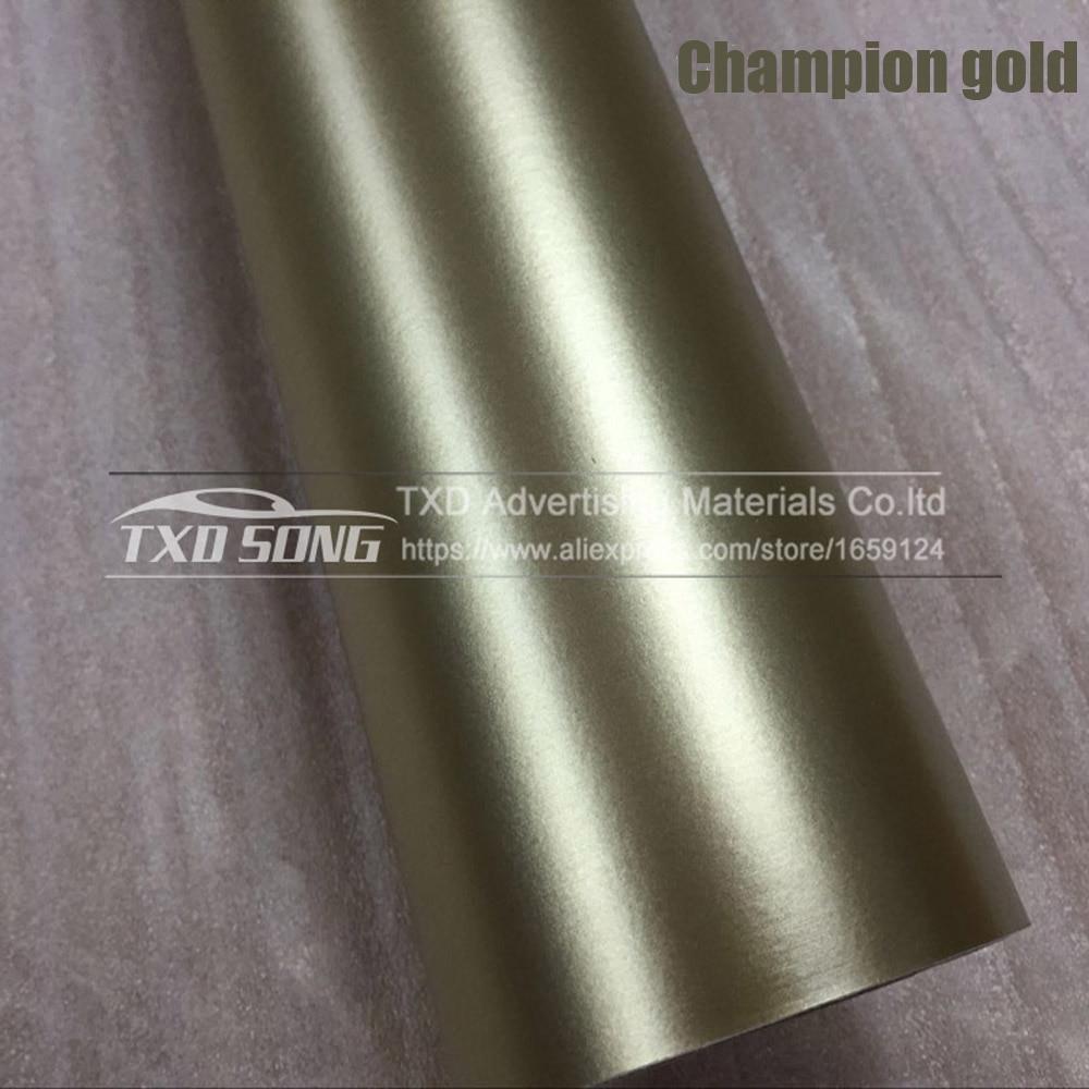 Хорошее качество, хромированная металлическая матовая алюминиевая виниловая металлическая виниловая пленка для отделки автомобиля, наклейка для стайлинга автомобиля, украшение из фольги - Название цвета: champion gold
