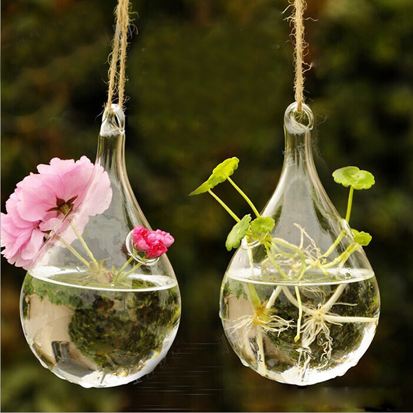 2017 New Clear Glass Hanging Vase Bottle Terrarium Container Plant