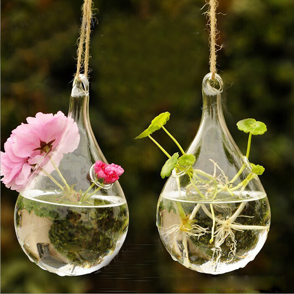 Hanging Flower Glass Vase,Oval Hydroponic Glassware Terrarium Hydroponic Plant Pot Clear Flower Bottle Without Stand for DIY Wedding Home Decoration