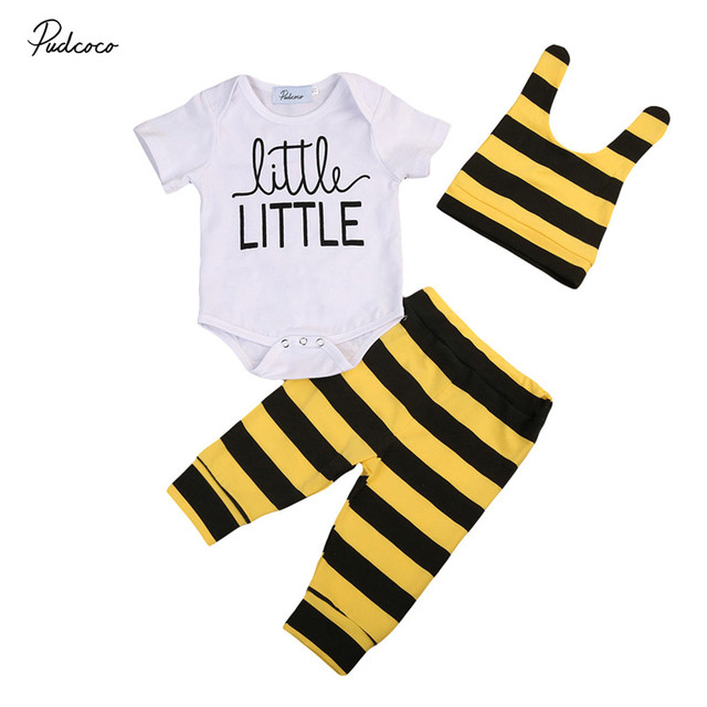 Pudcoco Baby Bees Yellow Stripe Newborn Boy Girl Clothes Set Kids