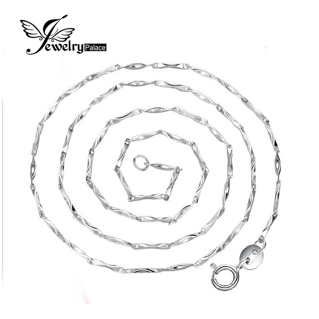 Jewelrypalace New Ingot Chain Necklace Wholesale Price Pure 925 Solid Sterling Silver 40 cm  45 cm  2016 Fine Jewelry