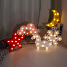 3D LED Romantic Lamp Flamingo Pineapple Cactus Night Light with Remote Controller Cloud Star Nightlight Party Home Decor Gift