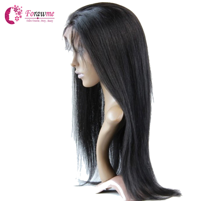 358b1a22641 US $135.5 |Forawme Full Lace Wigs/ Front Lace Wigs Straight Brazilian Remy  Virgin human hair wigs density 130% medium swiss lace cap 1b-in Human Hair  ...