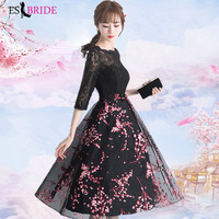 Black Vestidos De Fiesta De Noche Casual Pink Appliques Evening Dress Elegant Robe De Soiree Evening Dresses Evening Gown ES2000
