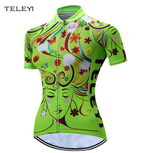 TELEYI Women Maillot Cycling Bike Short Sleeve Cyclisme Jersey Top Green XXS-4XL