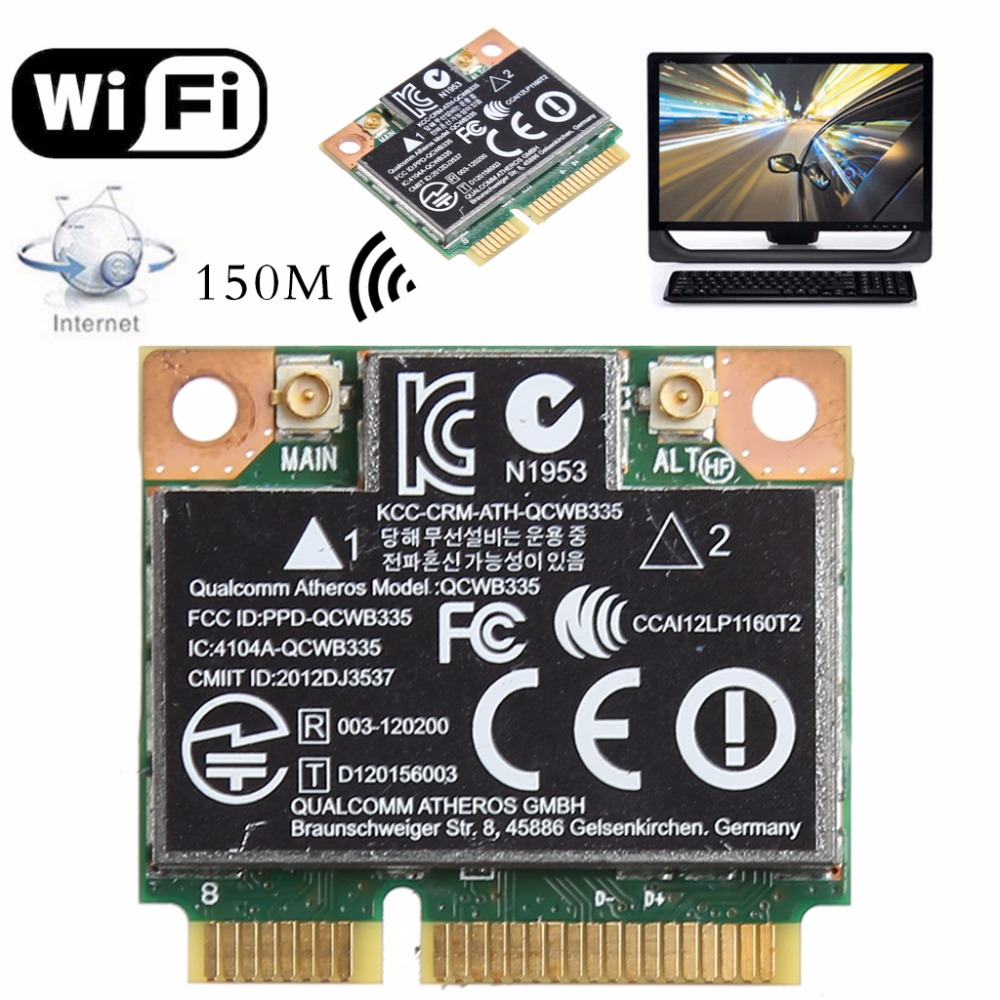 802.11b/g/n WiFi Bluetooth 4.0 Wireless Half Mini PCI-E Card For HP Atheros QCWB335 AR9565 SPS 690019-001 733476-001