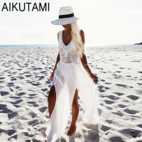 New Mesh Cover Up Beach Skirt Swimsuit Beach Dress Women Sexy Bathing Suits White Beachwear for Girls Swimwear