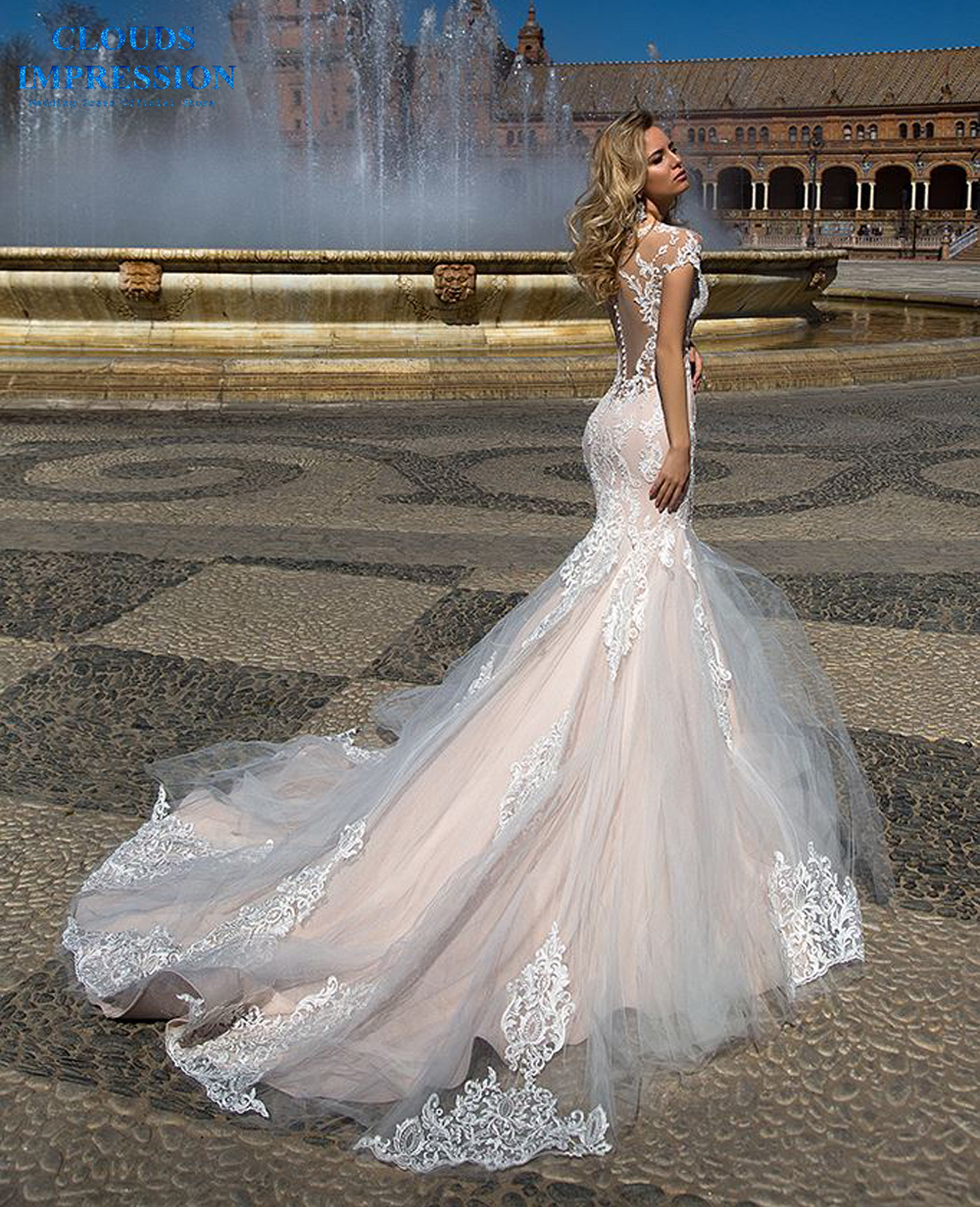 CLOUDS IMPRESSION Sexy Mermaid Wedding Dress 2019 Lace Beading Appliques Bridal Gowns Vestige De Noiva Bride