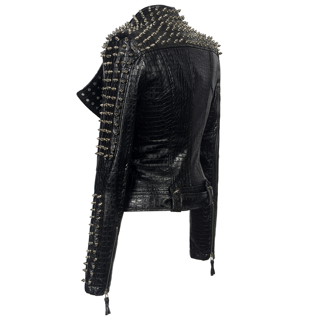 Faux leather PU Jacket Punk Rivet Gothic Women New Fashion Winter Autumn Motorcycle Jacket Black Faux Leather Coat Outerwear