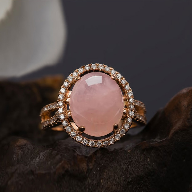 83a034ebd3afb US $10.35 43% OFF|Royal Natural Stone Big Pure Oval Pink Rings Semi  Precious Stone Ring with 4 Prong Setting Women Jewelry Powder crystal-in  Rings ...