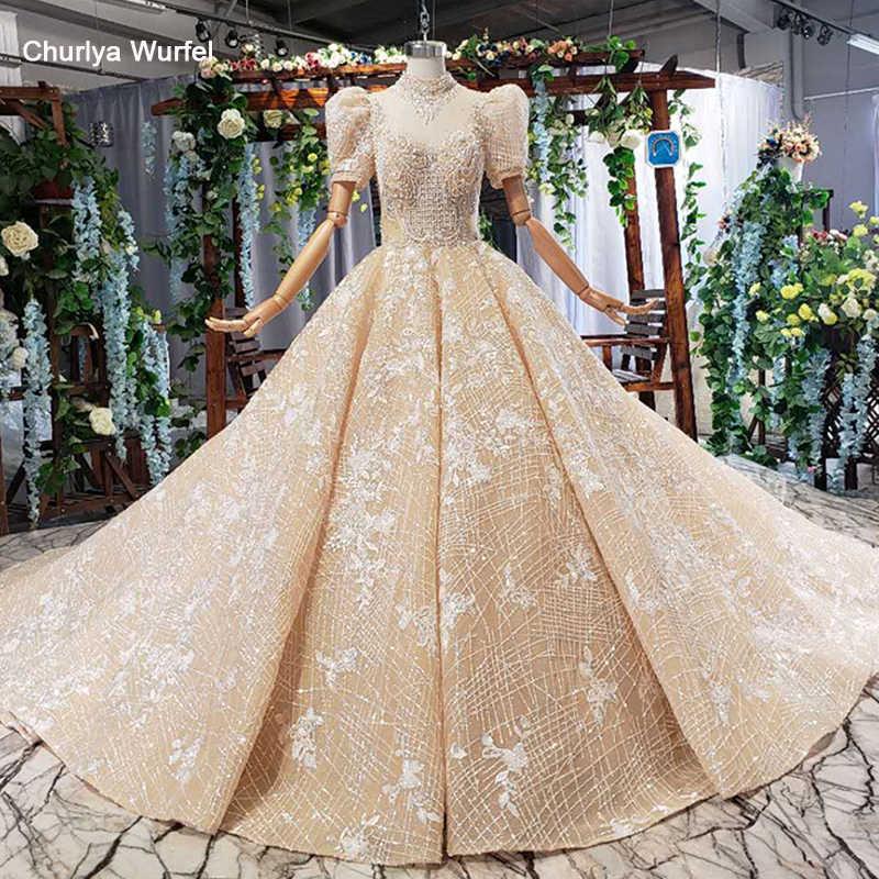HTL557 יוקרה חתונה שמלת 2019 גבוהה-high-end צוואר פאף קצר שרוול נסיכת כלה שמלת חתונה שמלת תחרה vestito דה sposa