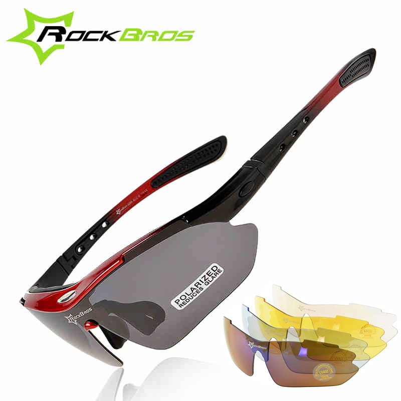 ROCKBROS Polarized Sports Men Sunglasses Road Cycling Glasses Mountain Bike MTB Bicycle Riding Protection Goggles Eyewear 5 Lens queshark polarized cycling sunglasses mountain road bike glasses riding bicycle goggles hiking sports eyewear with myopia frame