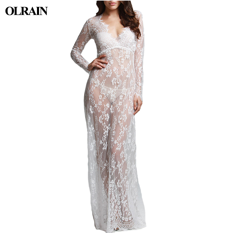 Olrain 2017 Long Womens new Maternity Lace Evening Photography Dress Party Ball Gown Pro ...