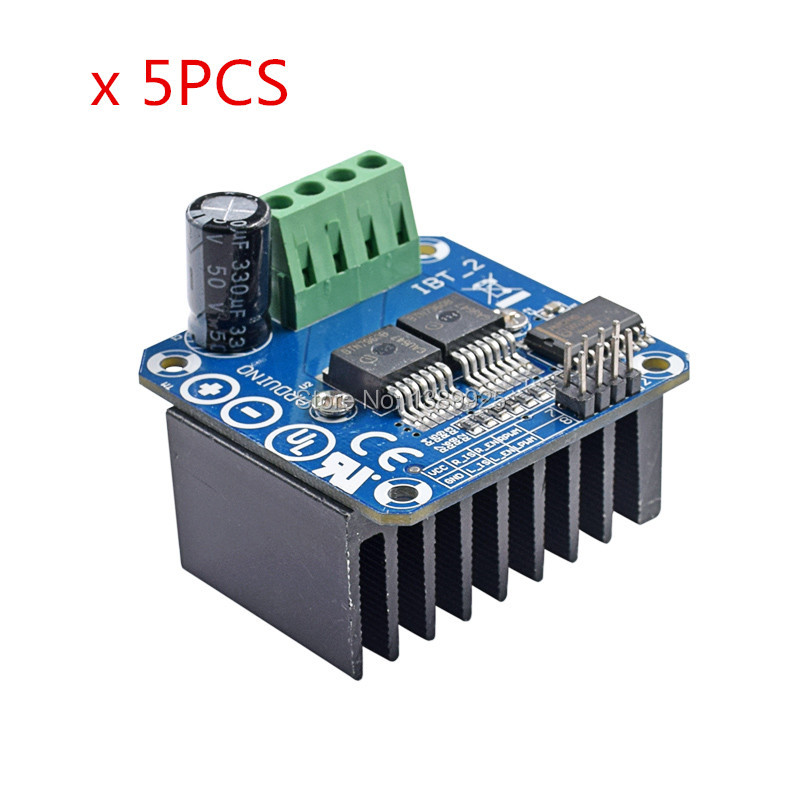 5pcs/lot High-power Smart Car Motor Drive Module BTS7960 43A Semiconductor Refrigeration Drive For Arduino