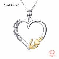New 100 Real Pure 925 Sterling Silver Hollow Love Heart Pendant Gold Color Anchor Necklace Fashion