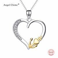 Nguyên chất 925 Sterling Bạc Hollow Love Heart Mặt Dây Chuyền Vàng Màu Neo Statement Necklace Trang Sức Cho Phụ Nữ PYX0180