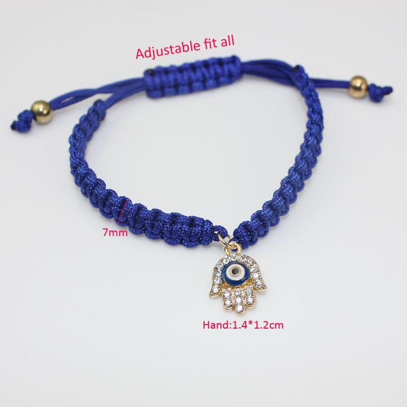 Handmade Braided Rope Bracelets Red Thread Turkish Jewelry Crystal Hamsa Hand Charm Bracelets Bring Lucky Peaceful Bracelets 24