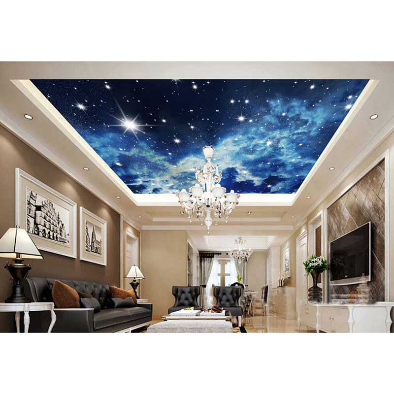 2016 3d blue sky modern luxury home decoration living room for 3d wallpaper for living room modern india