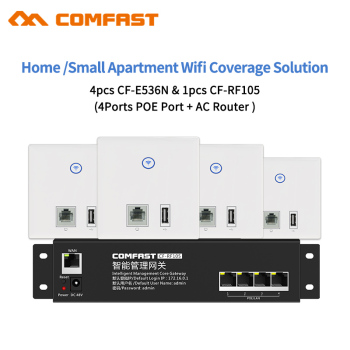 Smart Wifi Home /Apartement /Villa /Coverage Solution 4pcs RJ45WAN/LAN Wall Access Point AP +1 AC Router with Poe Supply Gateway