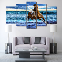 No Frame 5 Panels Printed Beach Horse Painting On Canvas Room Decoration Print Poster Picture Canvas