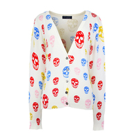 NIBESSER 2017 Spring Autumn New Women Coats Colorful Skull Printed Cardigan Casual Long Sleeve V Neck